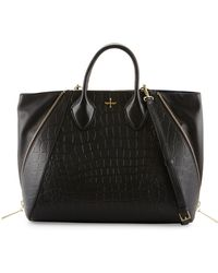 Pour La Victoire Yves Crocodile Embossed Leather Tote Bag - Lyst