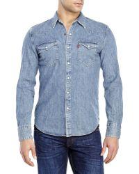 Levi's Western Denim Shirt blue - Lyst