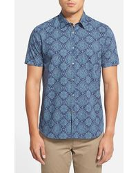 Ted Baker 'Bcrumbs' Extra Trim Fit Paisley Print Short Sleeve Sport Shirt blue - Lyst