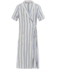 J.W. Anderson Striped Cotton And Linen-Blend Wrap Dress - Lyst