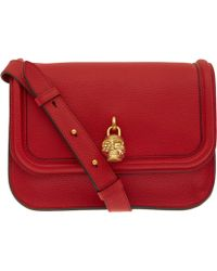 Alexander McQueen - Red Skull Padlock Leather Shoulder Bag - Lyst