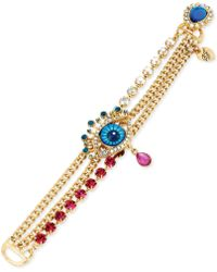 Betsey Johnson Goldtone Eye Multi Row Bracelet - Lyst