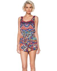 Mink Pink Woven Threads Playsuit - Lyst