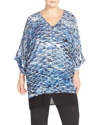 NIC+ZOE - 'clear Waters' Print Front V-neck Caftan Cover-up - Lyst