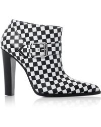 Altuzarra Check Leather Ankle Boots black - Lyst