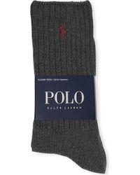 Ralph Lauren Ribbed Cotton-blend Socks - For Men - Lyst