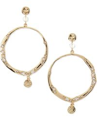 Sequin - Crystal Hoops with Charms - Lyst