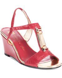 Anne Klein Edlynn Tstrap Wedge Sandals - Lyst
