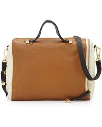 Halston Heritage Pebbled Leather Colorblock Satchel Bag - Lyst