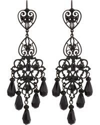Jose & Maria Barrera | Gunmetal Triple-drop Filigree Crystal Chandelier Earrings | Lyst