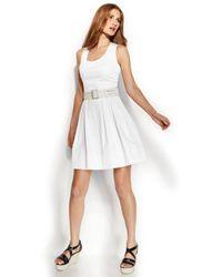 Calvin Klein Sleeveless Belted Pleated Dress - Lyst