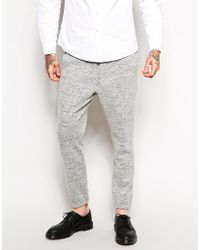 Asos Skinny Fit Smart Cuffed Joggers in Wool Mix - Lyst