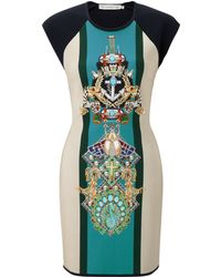 Mary Katrantzou Knipi Fitted Dress Racer Bone - Lyst