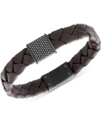 Swarovski - Men's Capture Black Pvd Metal Brown Leather Bracelet - Lyst
