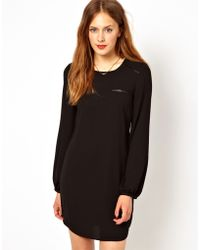 Oasis Shift Dress in Leather Look Trim - Lyst
