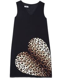 Moschino Cheap & Chic Leopard Heart Sleeveless Shift Dress - Lyst