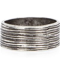 River Island - Grey Metal Textured Ring - Lyst