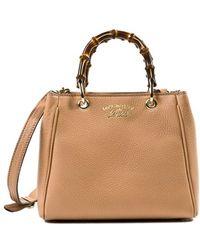 Gucci Mini Bamboo Shopping Bag In Camel Beige - Lyst