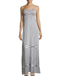 Minnie Rose - Striped Smocked Strapless Maxi Dress - Lyst