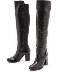 Carvela Kurt Geiger Wooden Knee High 5050 Boots Black - Lyst
