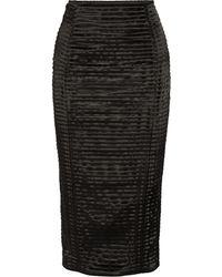 Balmain Pintucked Satin Skirt - Lyst