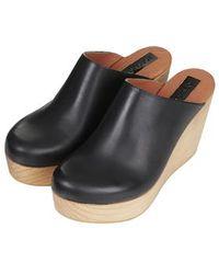 Topshop Pride Premium '70S Style Wooden Wedges black - Lyst