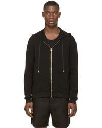 Versus  Black And Gold Lion Head Embroidered Hoodie black - Lyst