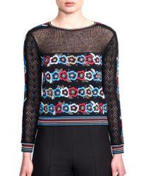 Valentino Posy Floral Intarsia Sweater black - Lyst