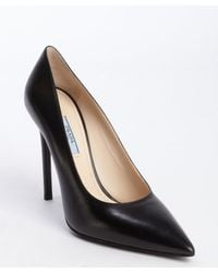 Prada Black Leather Pointed Toe Pumps - Lyst