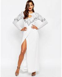 ASOS | Red Carpet All Over Embellished Leaf Placement Maxi Dress | Lyst