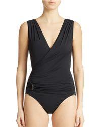 Vince Camuto Surplice One-Piece Swimsuit - Lyst