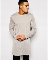 Asos Super Longline Long Sleeve T-Shirt In Textured Fabric - Lyst