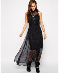 Diesel Mokaa High Neck Dress with Embellished Mesh Layer - Lyst