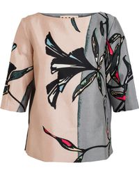 Marni Floral Printed Cottonsilk Top - Lyst
