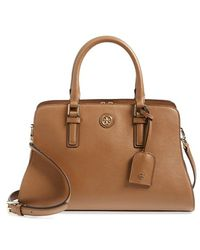 Tory Burch 'Robinson - Curved' Leather Satchel - Lyst