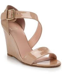 Stuart Weitzman Patent Leather Wedge Sandals - Lyst
