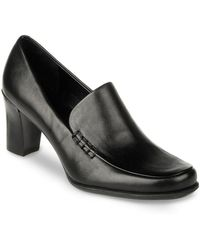 Franco Sarto Nolan High-Heel Leather Loafers - Lyst
