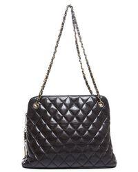 Chanel Pre-owned Black Lambskin Quilted Large Vintage Shoulder Bag - Lyst