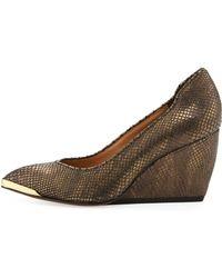 Rachel Zoe Noelle Snakeskin Textured Leather Wedge Pump - Lyst