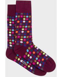 Paul Smith | Men's Damson Multi-coloured Polka Dot Socks | Lyst