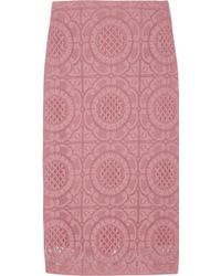 Burberry Prorsum Cottonblend Lace Pencil Skirt - Lyst