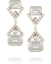 Elizabeth Cole Gold-Tone Swarovski Crystal Earrings - Lyst