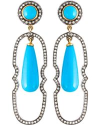 Gemco - Turquoise And Diamond Drop Earrings - Lyst