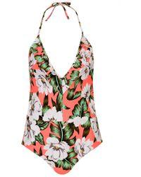 Topshop Aloha Deep Frill Swimsuit - Lyst
