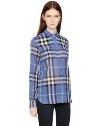 Burberry Brit Check Printed Cotton Voile Shirt - Lyst