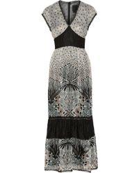 Anna Sui Printed Lace-Paneled Silk-Blend Chiffon Maxi Dress - Lyst