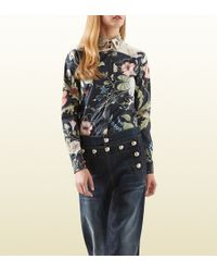 Gucci Flora Knight Print Cotton Poplin Shirt - Lyst