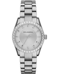 Karl Lagerfeld Ladies Silvertone Petite Stud Watch silver - Lyst