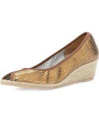 Sesto Meucci Mally Peeptoe Wedge Sandal Bronze - Lyst