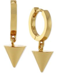 Vince Camuto - Gold-tone Dangling Triangle Hoop Earrings - Lyst